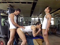 Handsome stud fucking with hot twins at break time in here