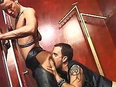 Leather guys fuck brains out and jizzing on mirror