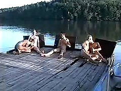 Five lovely boys suck each other on wooden bridge