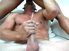 After much licking, sucking and rimming, the guys both cums!