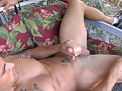 Ricky sucks dude's dick after outdoor running. Hot summer...