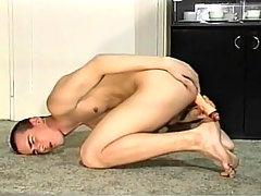 Skinny twink plays with his big dick and plays with toys