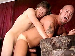 Two hot studs enjoying blowjob and anal fucking in here