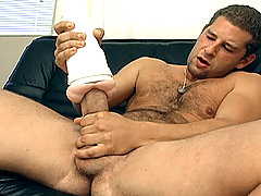 Alone in the sofa, Rod is stroking hard his massive meat!