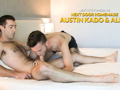 We've been simply giddy over this video we received from a hot young dude named Austin Kado.  It seems Austin has a knack for convincing guys to get naked and fuck on camera for their 1st time.  Austin has coaxed a handsome comrade named Alex to join him