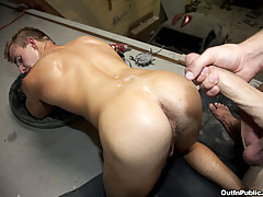 Pounding his tight hole and cumming on his ass