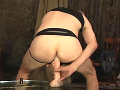 Horny masqued stud stick up two toys deep in his ass !
